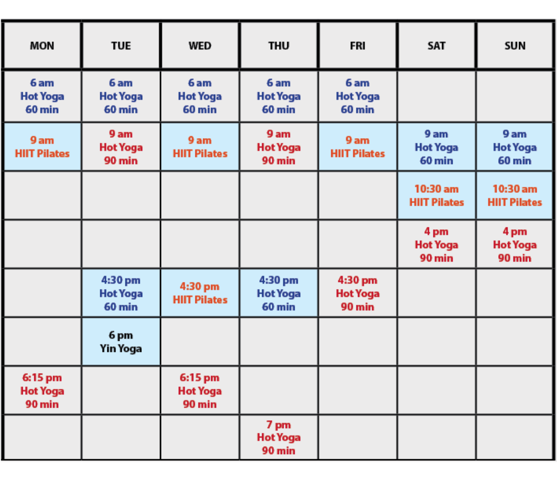 *Updated schedule (September, 2020). Note: classes in blue are ALSO available on ZOOM (FREE online live classes).