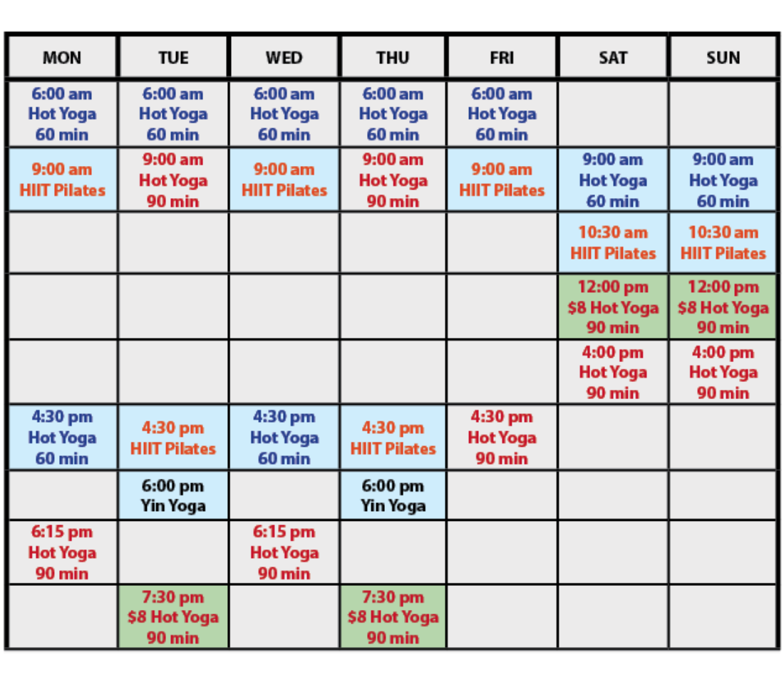 Orlando Hot Yoga and Pilates April 2021 Schedule